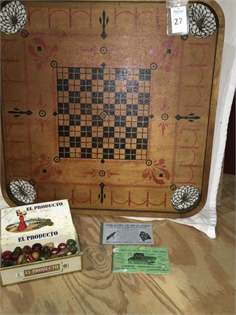 Vintage Wood Carrom Board Game with Playing Pieces **