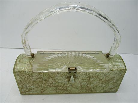 Vintage 1960' Mid Century Lucite Lady's Purse Hand Bag