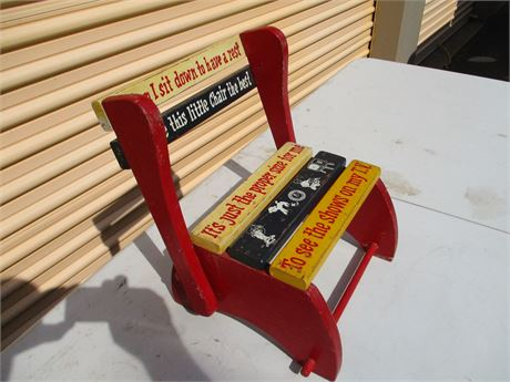 Vintage Children's 1950's  Fold Down Chair  Step Up Stool