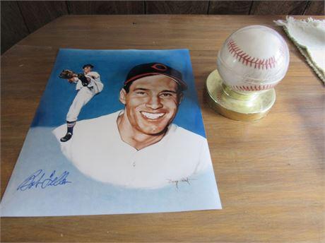 Bob Feller Signed Baseball & Autograph Photo Lot