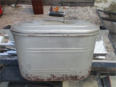"DELUXE Brand 24"" Metal Oval Wash Boiler Tub w/Lid"