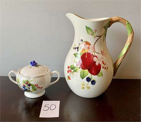 """Vibrant Lenox """"Orchard in Bloom"""" Pitcher and Sugar Dish"""