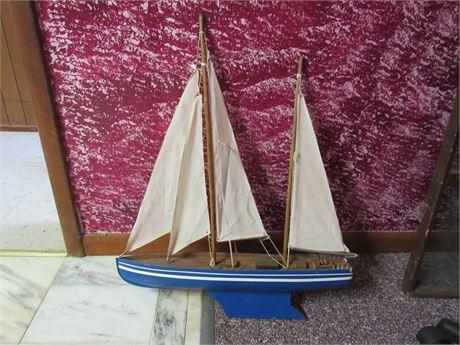 Wood Sailboat with Cloth Sails