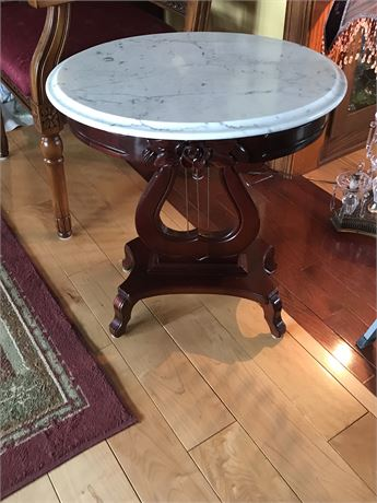 Marble Top Victorian Style Oval End Table by Kimball