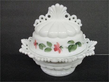 "Vintage 7"" White Milk Glass Lidded Painted Fancy Sugar Bowl"