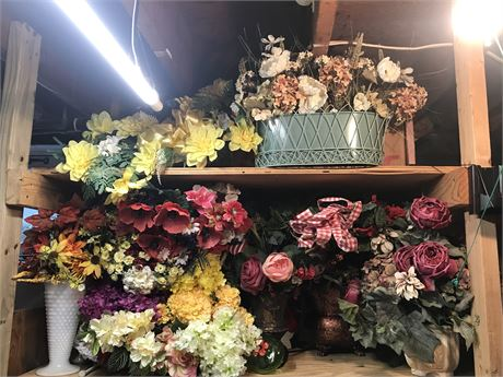 Faux Floral Arrangements Lot