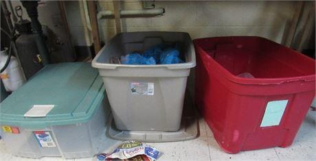 3 Plastic Storage Bins. Red is missing lid