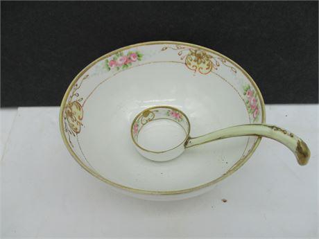 "Antique Japan Nippon Fine China 5"" Condiment Bowl w/ Dipper"