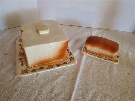 Vintage Ceramic Toast  + Butter Set