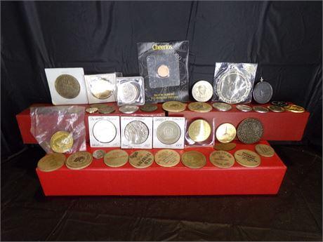 Assortment of tokens, casino coins, etc.
