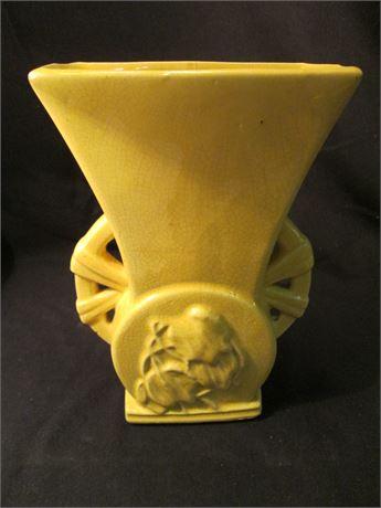 """Vintage Genuine McCoy 9"""" Yellow Pottery 1950's Vase"""