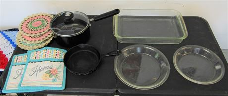 Pyrex Baking Dishes, Cast Iron and More