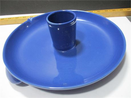 """Excellent 11"""" heavy Ceramic Blue Serving Dish w/ Cup Round Tray"""