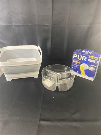 Kitchen Lot: collapsible dish basin, serving bowl, faucet purifier.