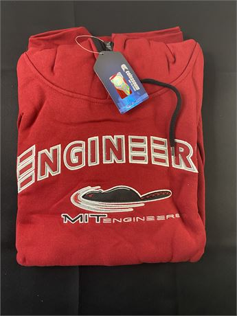 MIT Engineer red hooded sweatshirt. Size XL. New with tags.