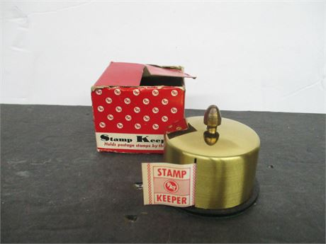 Vintage new Roseland N J Brass Roll Stamp Keeper in Box 1950's