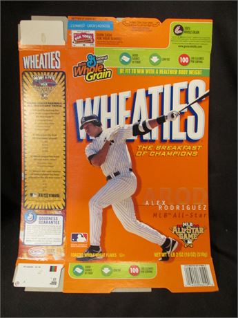 New Opened Flat Alex Rodriquez MLB Wheaties Cereal Box