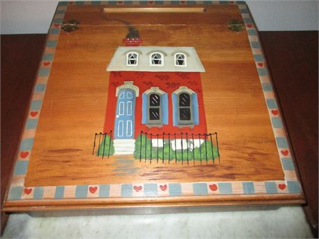 """Vintage 14"""" Desktop Painted Wood letter Writing Stationary Box w Pen tray"""