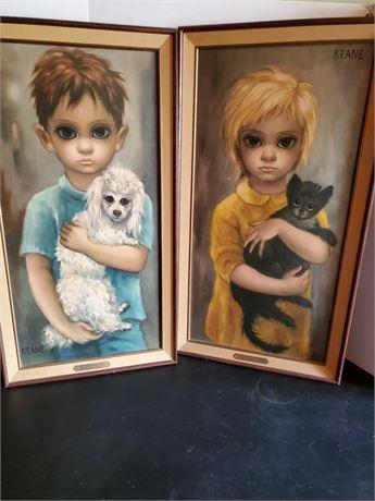 "Walter Keane Big Eyes Children Framed Prints ""Stray"" & ""No Dogs Allowed"""