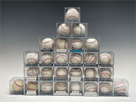 Collection of (27) Autographed Baseballs w/ Indians