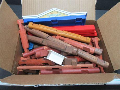Huge Vintage Box Lot Authentic Wood Lincoln Logs & Miscellaneous