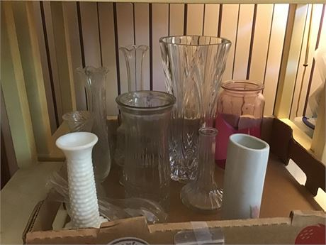 Assortment of Glass Floral Vases and Jars