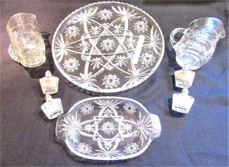 Vintage Pressed Glass Serving Pieces