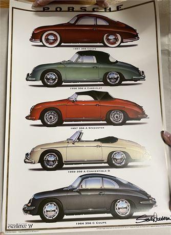 Signed Steve Anderson Excellence Magazine Porsche 356 Montage Print