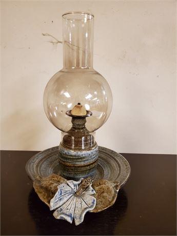 Pottery Oil Lamp w/ Chimney