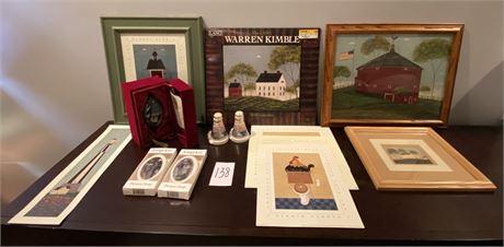 Warren Kimble Americana Decor and Thomas Kinkade Lenox Lighthouse S&P Shakers