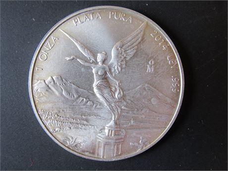 2014 Mexican 1 OZ 999 Silver Coin