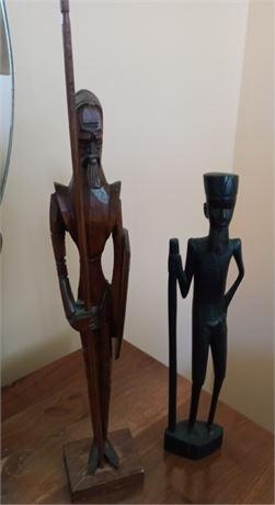 Pair of Wood Figure Carvings