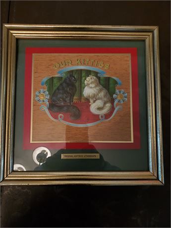 Antique Our Kitties Framed Lithograph