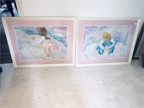Two Original Doris Jira Watercolor Paintings - Framed and Matted