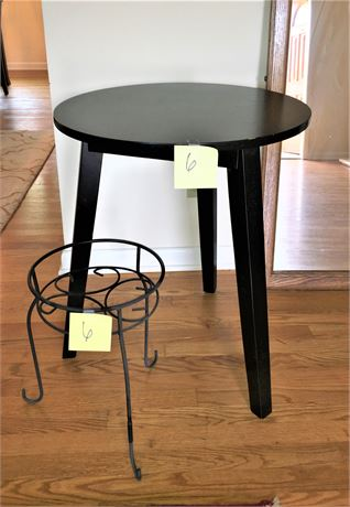 Round Wood Side Table and Wrought Iron Plant Stand