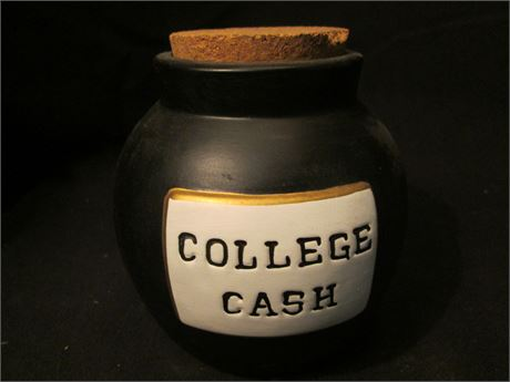 """Vintage Pottery 4"""" Ceramic """"COLLEGE FUND"""" Coin Bank"""