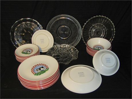 Service for 8 plus glass serving trays and cake plate