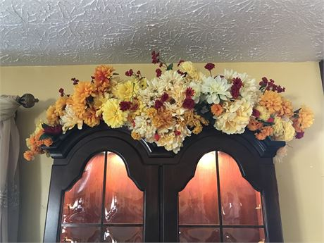Wall Hanging Vase with Flowers and Flowers above Secretary