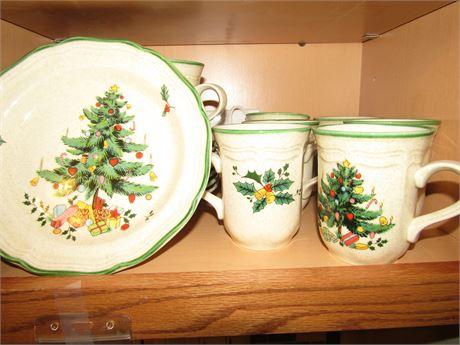 Mikasa Christmas Plates and Coffee Mugs