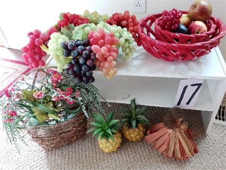 Ceramic Bowls, Artificial Fruit and Shelf