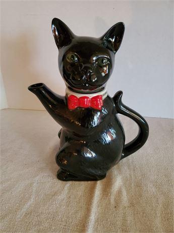 Vintage Tony Wood Staffordshire England Black Cat Teapot