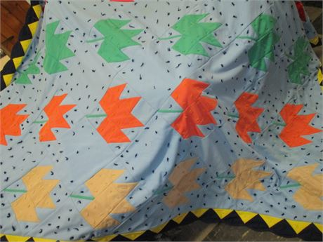"""Vintage Hand Made Knotted Granny 84"""" X 84  Quilt"""