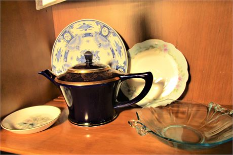 Hall Pottery Teapot Royal Delft Plate and More