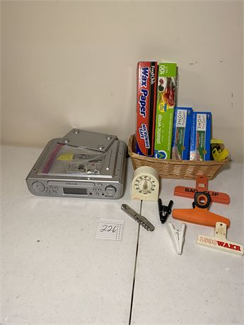 Kitchen Lot w/ Under Cabinet CD Player w/ BlueTooth, Remote, and Mounting Parts