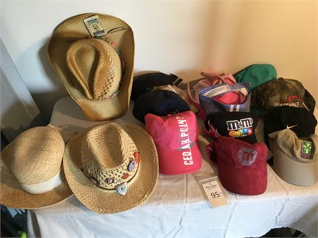 Assortment of Baseball Caps, Visors, and Cowboy Hats