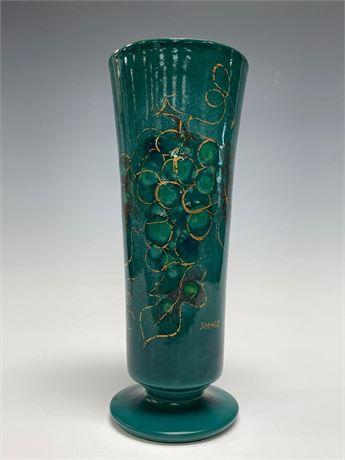 Enamel Over Copper Artist Signed Sascha Brastroff Vase with Grape Decor