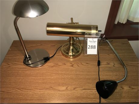 Brass Banker's Lamp and Other Desk Lamps