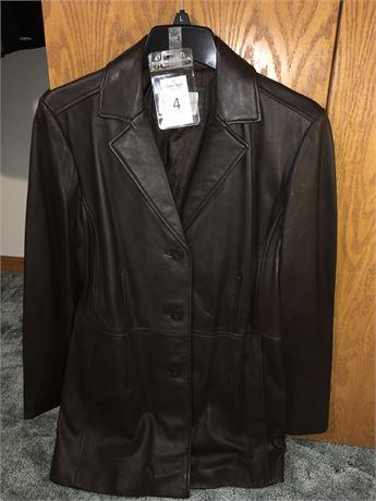 Worthington Ladies Brown Leather Coat