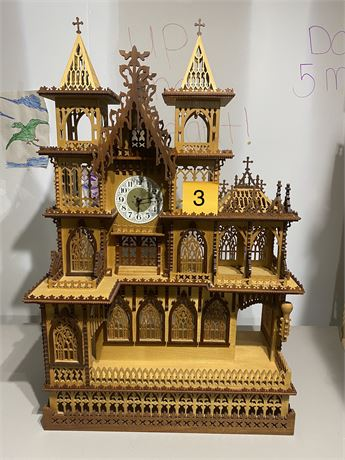 Antique Handmade Scroll Saw Church Clock with One of a Kind Fretwork Masterpiece