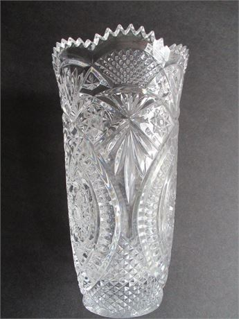 "Vintage Great American Anchor Hocking Crystal Glass 8"" Fancy Vase"